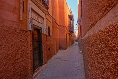 马拉喀什,摩洛哥红色麦地那  库存照片