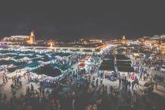 马拉喀什,摩洛哥- 2017年12月17日:Jamaa el Fna市场squa 免版税库存图片