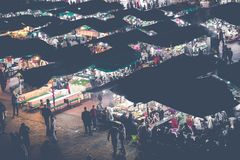 马拉喀什,摩洛哥- 2017年12月17日:Jamaa el Fna市场squa 免版税图库摄影