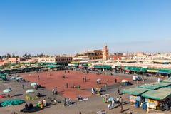 马拉喀什,摩洛哥- 2017年12月17日:Jamaa el Fna市场squa 免版税库存照片