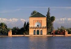 马拉喀什menara摩洛哥亭子 免版税库存照片
