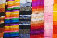 从马拉喀什的五颜六色的布料 免版税库存照片