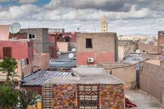 马拉喀什,摩洛哥屋顶和房子  库存图片