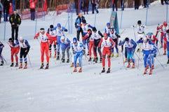 马拉松滑雪起始时间 免版税库存图片