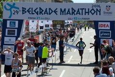 马拉松的优胜者人的 免版税库存图片