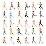 马拉松运动员和障碍短跑选手有义肢腿的 库存图片