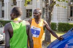 马拉松运动员在种族以后 免版税库存照片