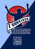 马拉松运动员生存了减速火箭的海报 免版税库存图片