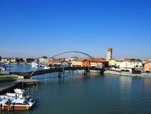 马拉诺拉古纳雷镇视图,钓鱼弗留利的自治区的中心,在意大利 免版税库存照片
