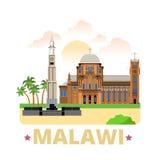 马拉维国家设计模板平的动画片样式 库存例证