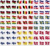 马拉维,比利时, Los女低音,玻利维亚,德涅斯特河沿岸共和国,瑞典,芬兰,纽埃,军事顺序马耳他 大套81面旗子 免版税图库摄影