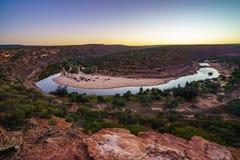 马掌弯日出的murchison河,kalbarri国立公园,澳大利亚西部1 免版税图库摄影