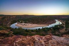 马掌弯日出的murchison河,kalbarri国立公园,澳大利亚西部2 库存照片