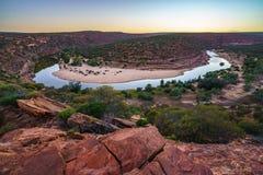 马掌弯日出的murchison河,kalbarri国立公园,澳大利亚西部4 库存图片