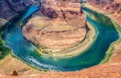 马掌弯, Arzona 科罗拉多河的美丽如画的曲线在大峡谷 免版税库存图片