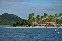 马提尼克岛海滩俱乐部海滩体育风筝海浪 免版税库存图片