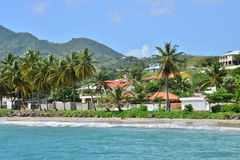 马提尼克岛, Le美丽如画的城市diamant在印度西部 免版税库存图片