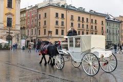 马支架在克拉科夫老市,波兰 库存照片