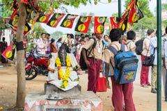马杜赖,印度- 2月15 :未认出的学生在学校 免版税库存照片