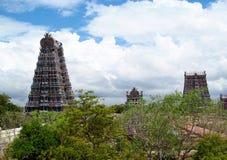 马杜赖gopuram Meenakshi阿曼寺庙 库存照片