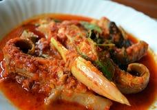 马来的烹调- Asam Pedas Ikan Pari 免版税库存照片