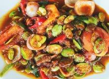 马来的烹调Sambal Petai 免版税图库摄影