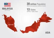 马来西亚与映象点金刚石纹理的世界地图 库存照片
