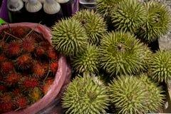 马来西亚人沙巴地方果子(留连果和红毛丹) 库存图片