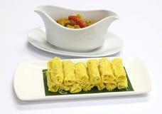 马来西亚人白色板材的Roti Jala 库存照片
