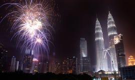 马来西亚人美国独立日2013年-在KLCC的烟花 免版税图库摄影