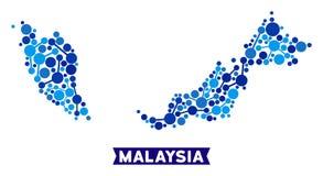 马来西亚地图连接马赛克 向量例证