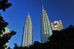 马来西亚天然碱耸立孪生 免版税库存照片