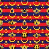 马来西亚旗子建立无缝的样式的象回教 免版税库存图片