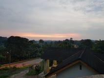 马来西亚日落的村庄 免版税库存照片