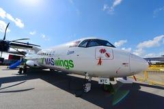 马来西亚根据MASwings ATR 72-500涡轮螺旋桨发动机航空器显示在新加坡Airshow 免版税库存照片