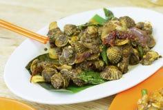 马来西亚烹调 辣sambal鸟蛤 免版税库存图片