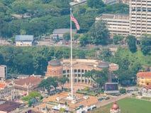 马来西亚的吉隆坡图书馆从上和旗子的看法 库存照片