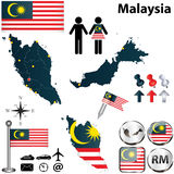 马来西亚的地图 免版税图库摄影