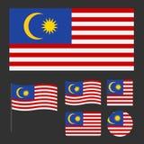 马来西亚的旗子有各种各样的比例和形状集合的 库存例证