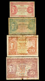 马来西亚的老钞票收藏。 免版税库存照片