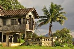 马来西亚老房子,异乎寻常的横向 免版税库存照片