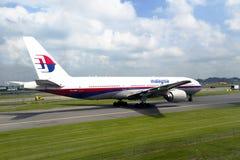 马来西亚航空公司的乘客飞机 免版税图库摄影