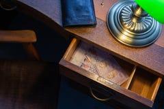 马来西亚金钱,林吉特,在a书桌抽屉 免版税库存照片