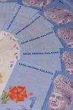 从马来西亚钞票的蓝色装饰品 免版税库存照片