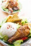 马来西亚食物nasi ayam penyet 免版税库存照片