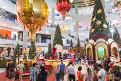 马来西亚,吉隆坡- 12月2017 07日:亭子购物的mal 库存照片