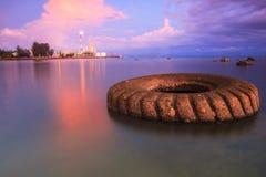 马来西亚 在天然碱甲醇纳闽的日落 免版税图库摄影