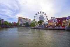 马来西亚- 3月23 :在Melaka河河岸的马六甲眼睛2017年3月23日的马来西亚 马六甲被列出了成联合国科教文组织 库存图片