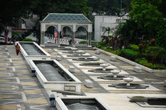 马来西亚a的全国清真寺的庭院 K Masjid Negara 库存图片