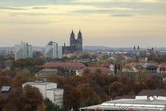 马格德堡市,萨克森Anhalt,德国概要,在11月 库存图片